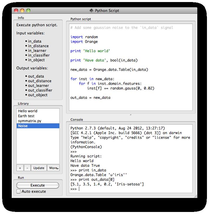 Python Script — Orange Documentation v2 7 8